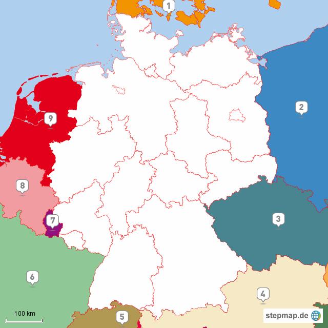 stepmap nachbarl nder deutschland landkarte f r deutschland. Black Bedroom Furniture Sets. Home Design Ideas