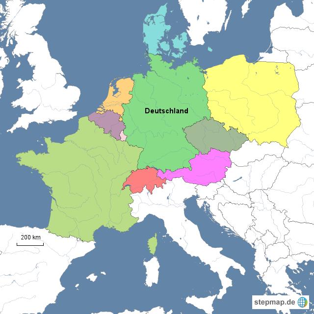 nachbarl nder deutschlands von jessy landkarte f r. Black Bedroom Furniture Sets. Home Design Ideas