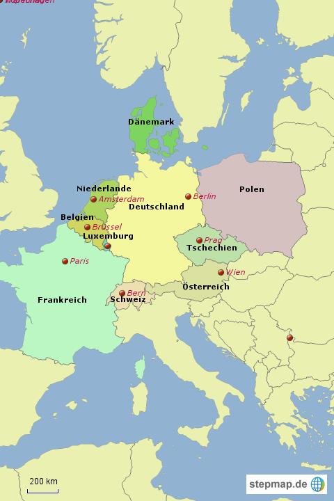 karte nachbarländer deutschland StepMap   Nachbarländer Deutschlands   Landkarte für Deutschland