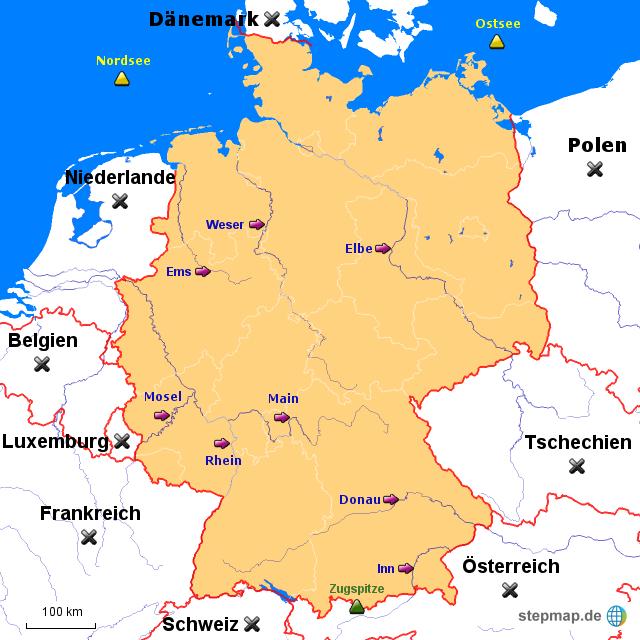 Nachbarländer / Flüsse / Gebirge von diegmachs - Landkarte ...