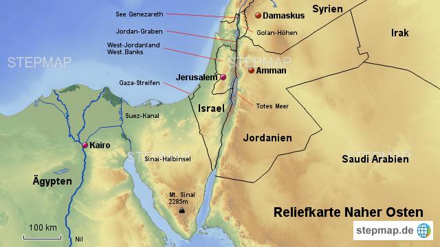 Karte Naher Osten Israel.Stepmap Naher Osten Relief Karte Landkarte Fur Deutschland