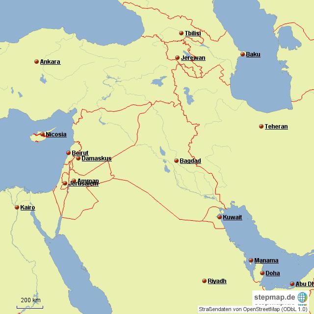 Nahost Karte.Stepmap Nahost 1 Landkarte Für Deutschland