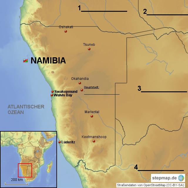 StepMap - Namibia Karte mit Nachbarländern als Arbeitsblatt ...