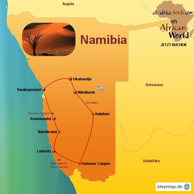 Namib Wüste Karte.Stepmap Namibia Selbstfahrer Rundreise Landkarte Für Namibia