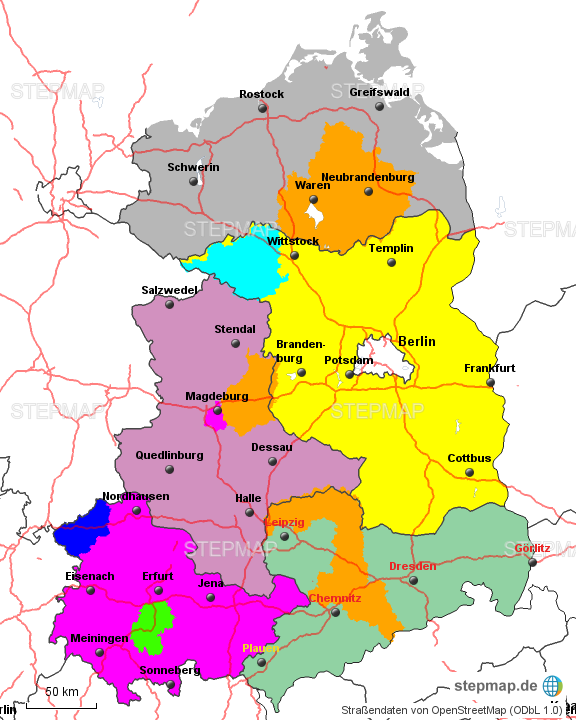 neue bundesländer karte StepMap   Neue Bundesländer   Landkarte für Deutschland neue bundesländer karte