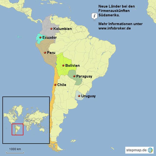 Südamerika Karte Länder.Stepmap Neue Länder Bei Firmenauskünften Südamerika Landkarte