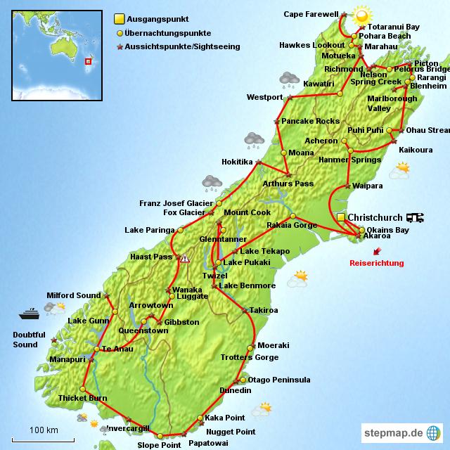 Stepmap Neuseeland Campervantour Sudinsel Landkarte Fur Neuseeland