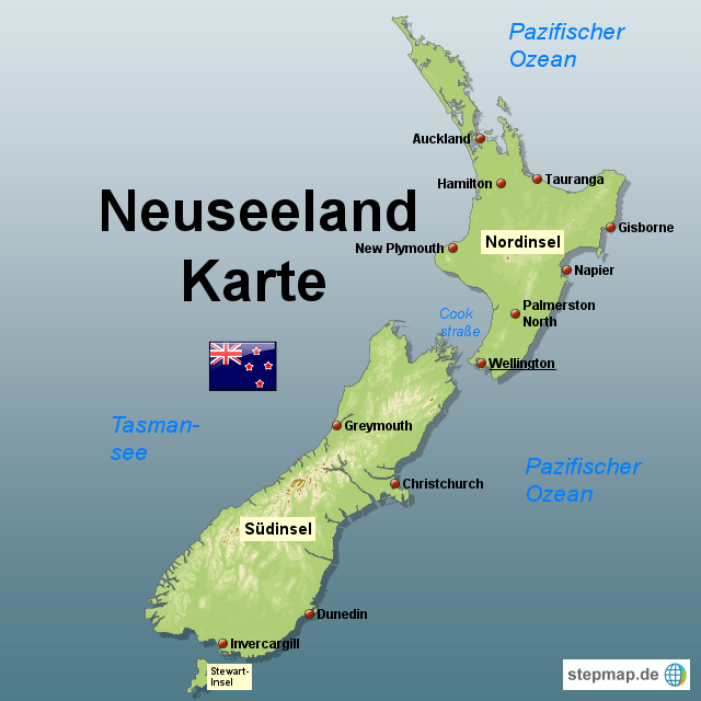Stepmap Neuseeland Karte Landkarte Fur Neuseeland