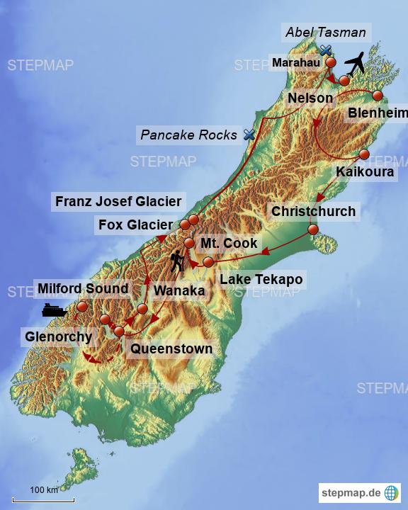 Stepmap Neuseeland Sudinsel Landkarte Fur Neuseeland
