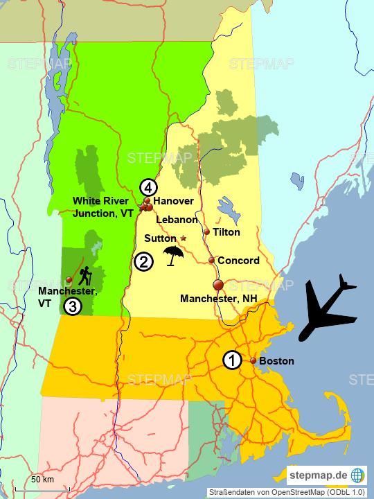 StepMap - New England - Landkarte für USA