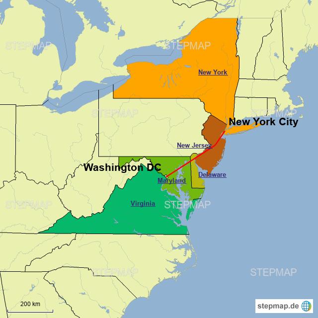 Washington Dc Karte.Stepmap New York Washington D C Landkarte Für Deutschland