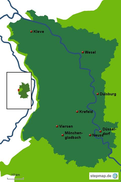 Karte Niederrhein.Stepmap Niederrhein Landkarte Für Deutschland