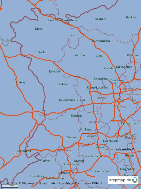 Karte Niederrhein.Stepmap Niederrhein 2 Landkarte Für Welt