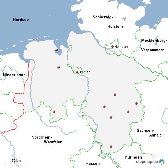 Karte Nordseeküste Niedersachsen.Stepmap Niedersachsen Landkarte Für Deutschland