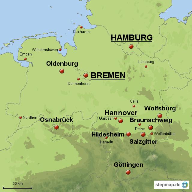 bremen landkarte StepMap   Niedersachsen, Bremen & Hamburg   Landkarte für Deutschland bremen landkarte