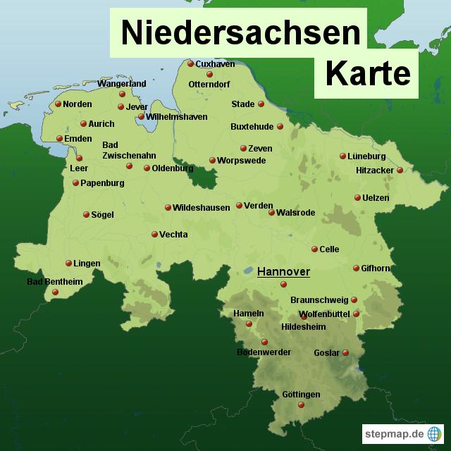 Niedersachsen Karte Mit Städten.Stepmap Niedersachsen Karte Landkarte Für Deutschland