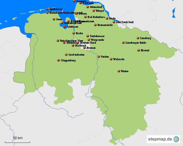 bremen landkarte StepMap   Niedersachsen Karte Bremen und umzu   Landkarte für  bremen landkarte