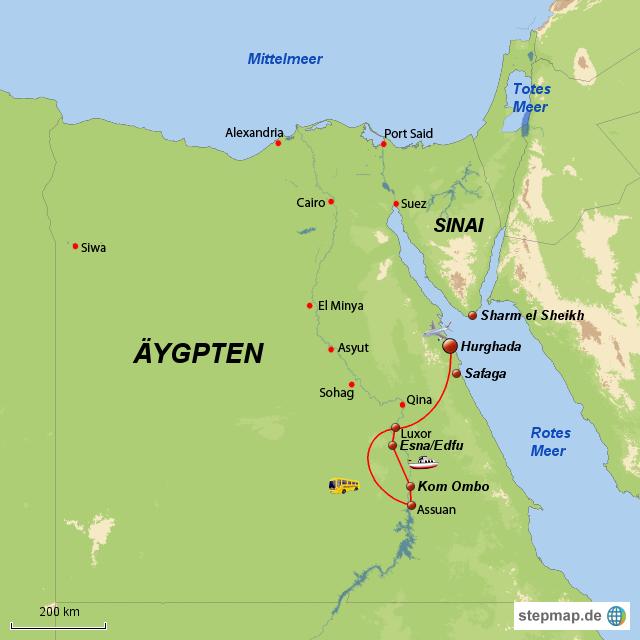stepmap nilkreuzfahrt badeaufenthalt landkarte f r gypten. Black Bedroom Furniture Sets. Home Design Ideas