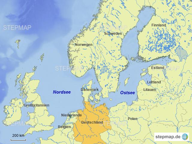 Ostsee Deutschland Karte.Stepmap Nord Und Ostsee Landkarte Fur Deutschland