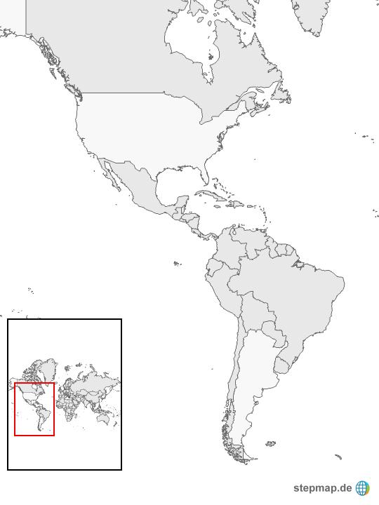Amerika Karte Schwarz Weiß.Stepmap Nord Und Südamerika Landkarte Für Nordamerika