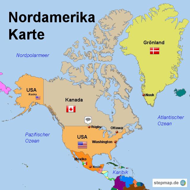 karte nordamerika StepMap   Nordamerika Karte   Landkarte für Nordamerika karte nordamerika