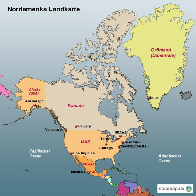 Karte Nordamerikas.Stepmap Nordamerika Landkarte Landkarte Für Nordamerika