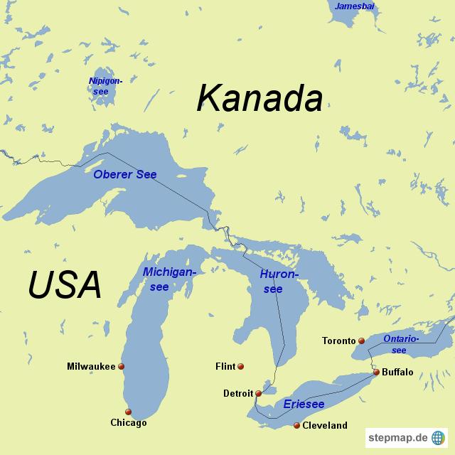 Karte Nordamerikas.Stepmap Nordamerika Seen Landkarte Für Nordamerika