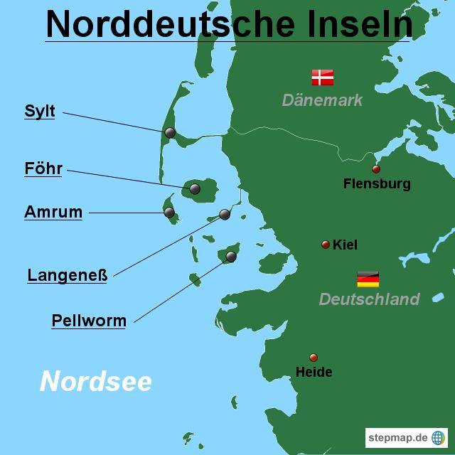 landkarte deutschland inseln StepMap   Norddeutsche Inseln  Überblick   Landkarte für Deutschland