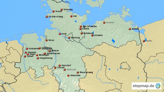 karte norddeutschland StepMap   Norddeutschland   Landkarte für Deutschland karte norddeutschland