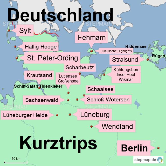 Kulturelle Landpartie Karte.Stepmap Norddeutschland Kurztrips 1 Landkarte Fur