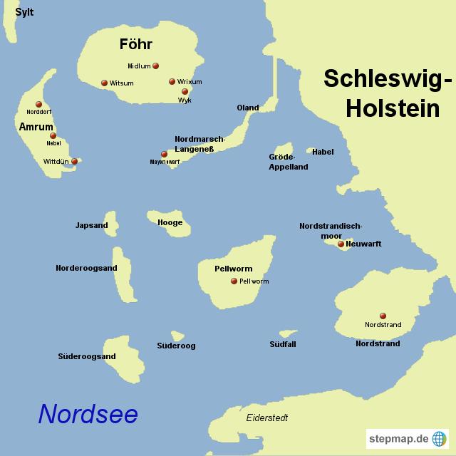 nordfriesische inseln karte StepMap   Nordfriesische Inseln   Landkarte für Deutschland