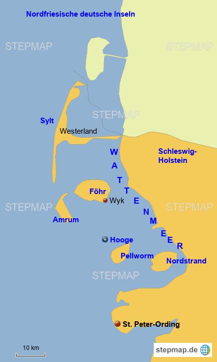 Nordfriesische Inseln Karte.Stepmap Nordfriesische Inseln Landkarte Fur Deutschland