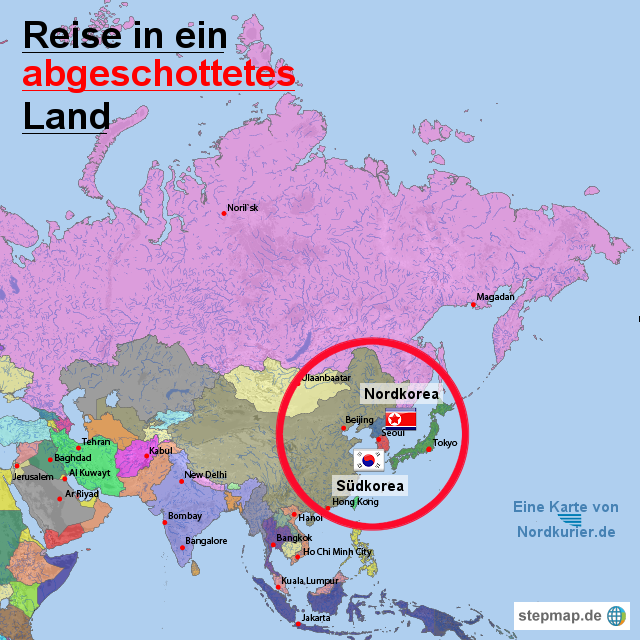 nordkorea landkarte StepMap   Nordkorea in Asien   Landkarte für Asien nordkorea landkarte