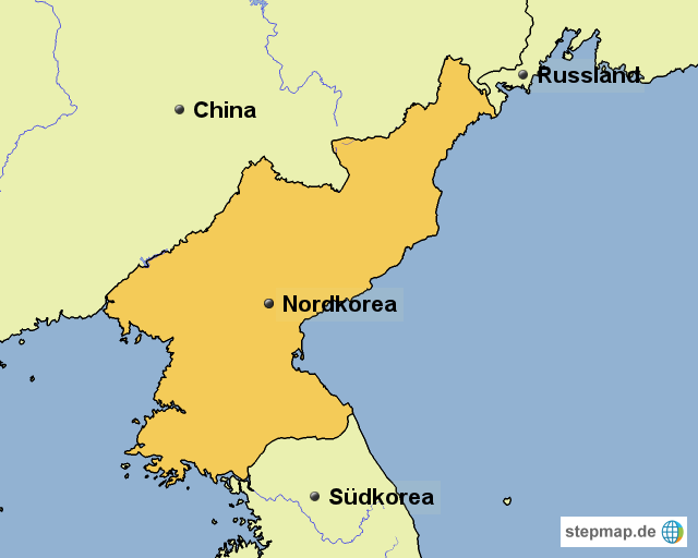 Karte Iran Nachbarlander.Stepmap Nordkorea Und Nachbarlander Landkarte Fur Nordkorea