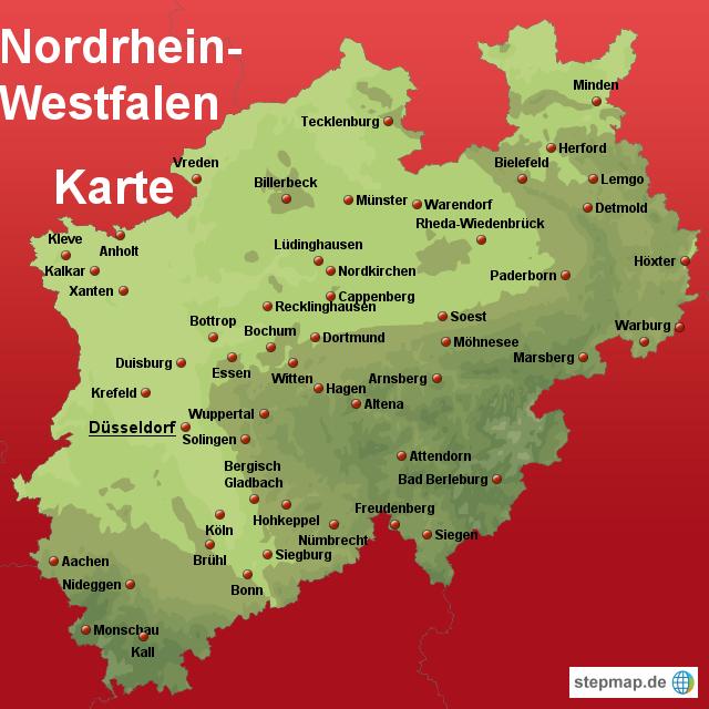 stepmap nordrhein westfalen karte landkarte f r deutschland. Black Bedroom Furniture Sets. Home Design Ideas