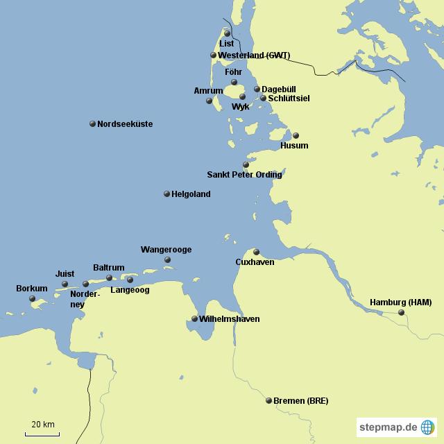 karte nordseeküste StepMap   Nordseeküste   Landkarte für Deutschland karte nordseeküste