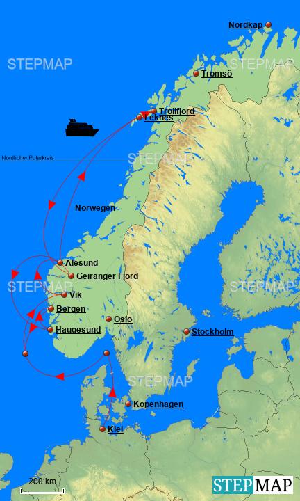 Karte Norwegen Mit Polarkreis.Stepmap Norwegen Landkarte Für Deutschland