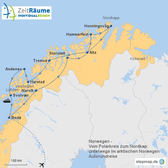 Karte Norwegen Mit Polarkreis.Stepmap Norwegen Arktisches Norwegen Bodø Nordkapp Bodø
