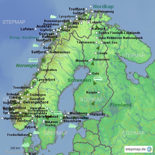Karte Norwegen.Stepmap Norwegen Reise Landkarte Fur Norwegen