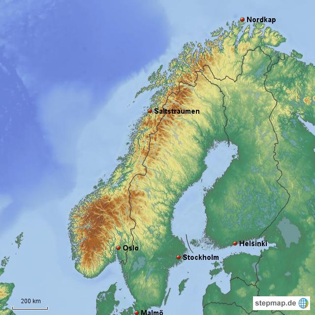 Karte Norwegen Schweden.Stepmap Norwegen Schweden Finnland Landkarte Fur