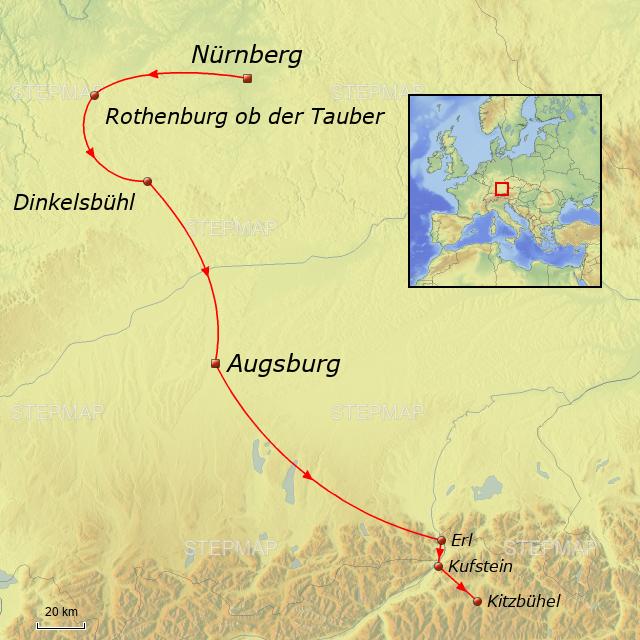 Romantische Straße Karte.Stepmap Nürnberg Romantische Straße Landkarte Für Deutschland