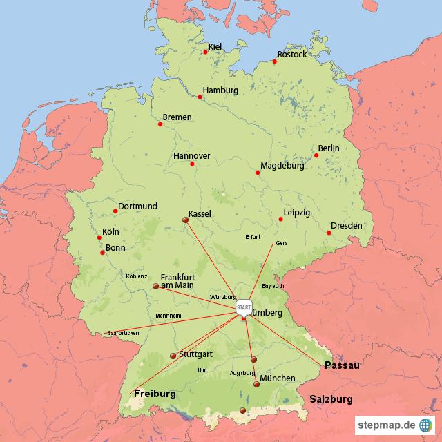 nürnberg karte deutschland StepMap   Nürnberg und die Lage in Süddeutschland   Landkarte für