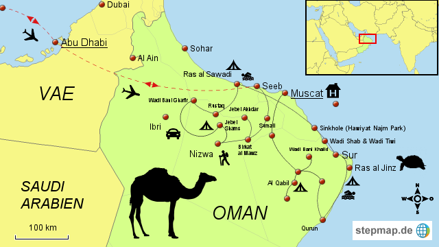 Karte Oman.Stepmap Oman Nordoman Rundreise Landkarte Für Oman