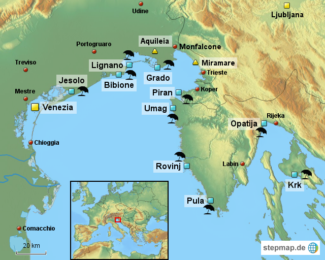 adria italien karte StepMap   Obere Adria   Landkarte für Italien adria italien karte