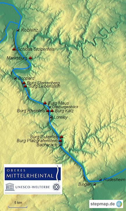 Mittelrheintal Karte.Stepmap Oberes Mittelrheintal Landkarte Fur Deutschland
