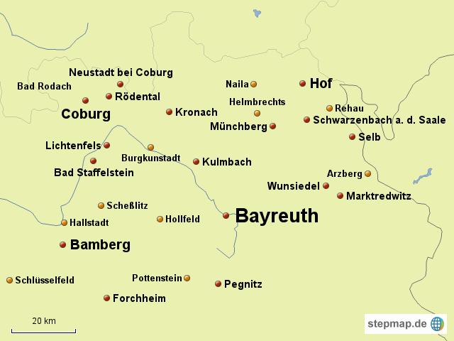 Oberfranken Karte.Stepmap Oberfranken Landkarte Für Deutschland