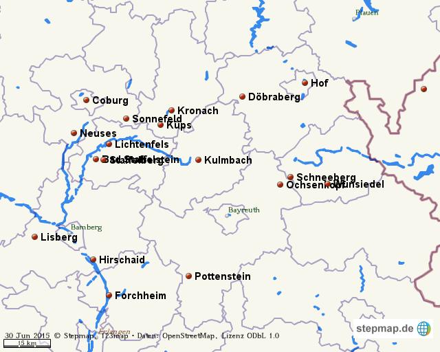 Oberfranken Karte.Stepmap Oberfranken Landkarte Für Welt