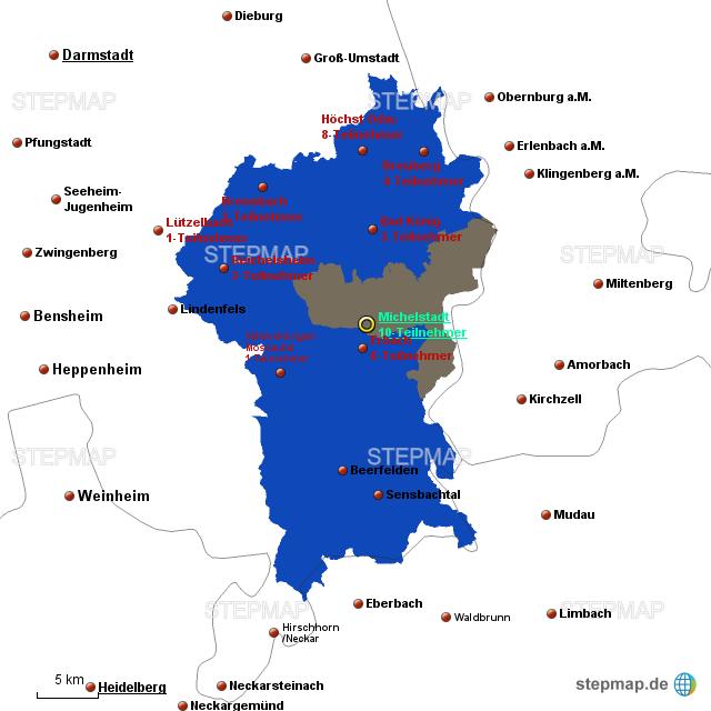 karte odenwald StepMap   Odenwald Karte TN   Landkarte für Deutschland