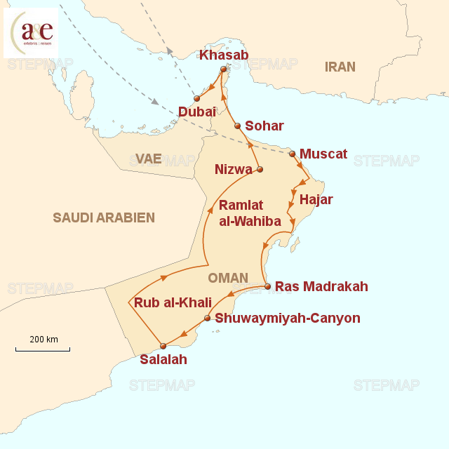 Karte Oman Kostenlos.Stepmap Oman Dhofar Musandam Landkarte Fur Oman
