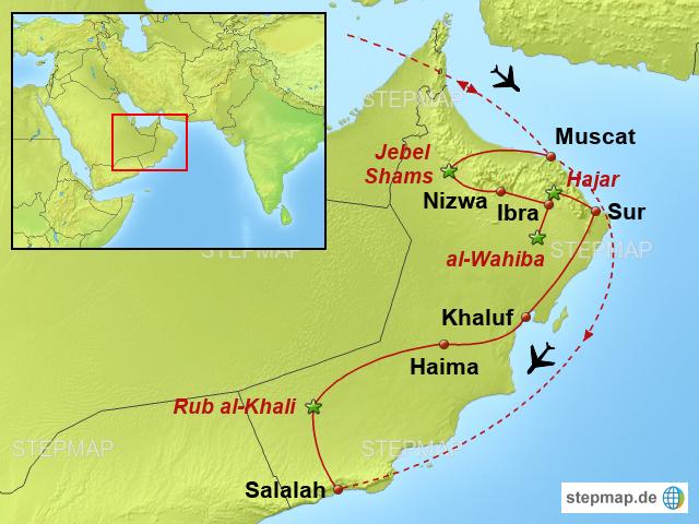 Karte Oman.Stepmap Oman Wüsten Wadis Und Gebirge Landkarte Für Oman